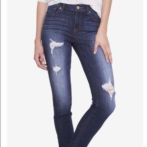 Express high waisted distressed jean legging sz10